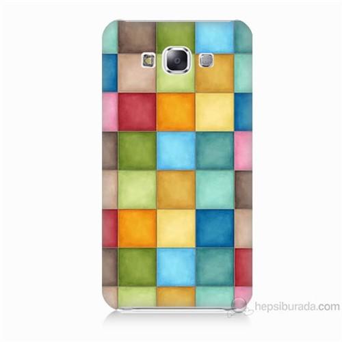 Teknomeg Samsung Galaxy E5 Kapak Kılıf Renkli Kareler Baskılı Silikon