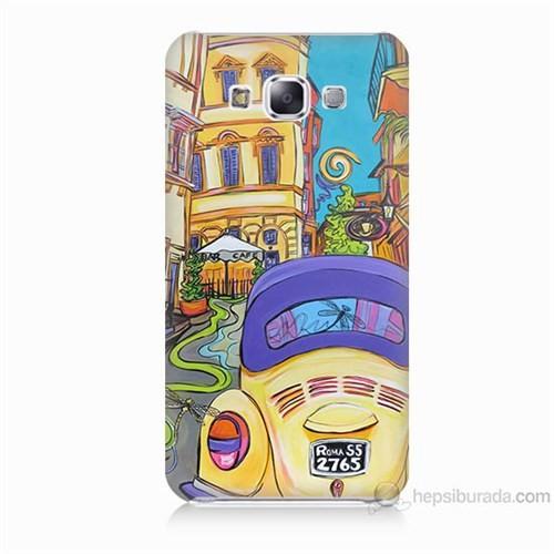 Teknomeg Samsung Galaxy E5 Kapak Kılıf Sarı Wolsvagen Baskılı Silikon