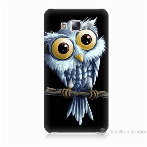 Teknomeg Samsung Galaxy E5 Kapak Kılıf Beyaz Baykuş Baskılı Silikon