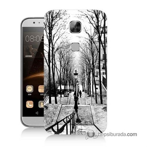Teknomeg Huawei G8 Kapak Kılıf Siyah Beyaz Baskılı Silikon