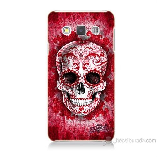 Teknomeg Samsung Galaxy A7 Kırmızı İskelet Baskılı Silikon Kılıf