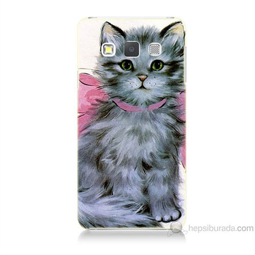 Teknomeg Samsung Galaxy A7 Papyonlu Kedi Baskılı Silikon Kılıf