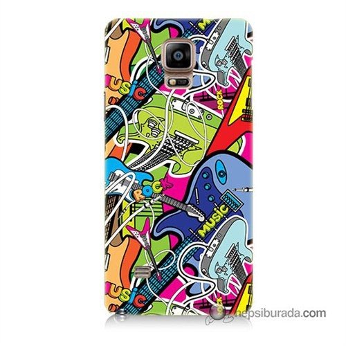 Teknomeg Samsung Galaxy Note 4 Kapak Kılıf Gitar Baskılı Silikon
