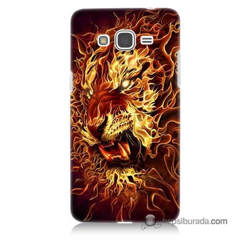 Teknomeg Samsung Galaxy Grand Prime Kılıf Kapak Ateşli Aslan Baskılı Silikon