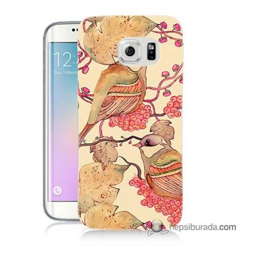Teknomeg Samsung Galaxy S6 Edge Kılıf Kapak Kuşlar Baskılı Silikon