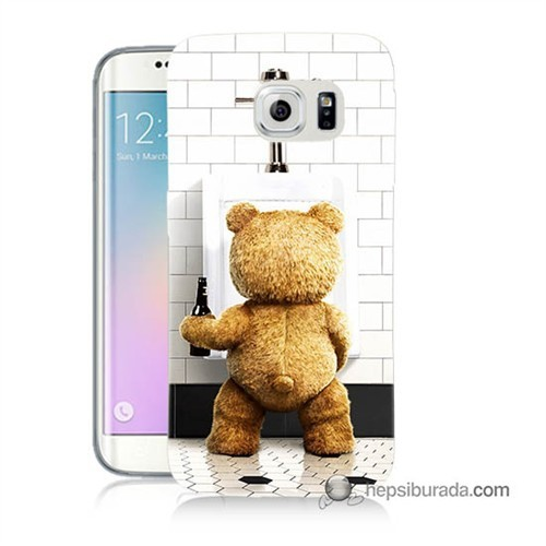 Teknomeg Samsung Galaxy S6 Edge Kılıf Kapak Tedy Bear Baskılı Silikon