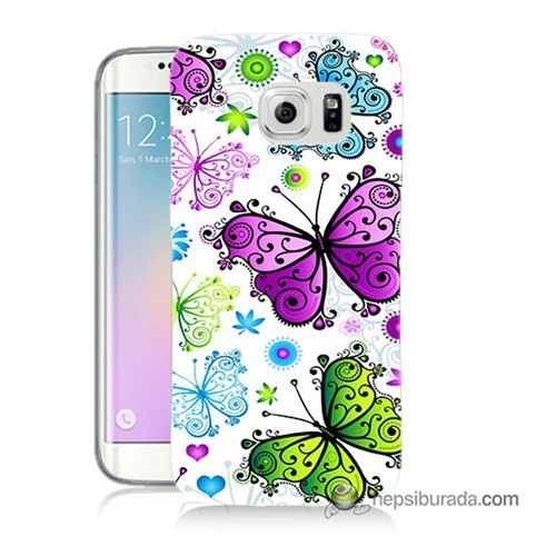 Teknomeg Samsung Galaxy S6 Edge Kapak Kılıf Renkli Kelebekler Baskılı Silikon