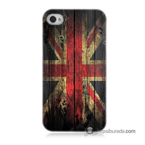 Teknomeg İphone 4 Kapak Kılıf İngiliz Bayrağı Baskılı Silikon