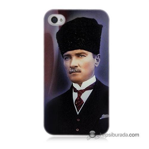 Teknomeg İphone 4S Kılıf Kapak Mustafa Kemal Atatürk Baskılı Silikon