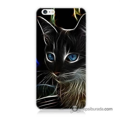 Teknomeg İphone 6 Kapak Kılıf Dumanlı Kedi Baskılı Silikon