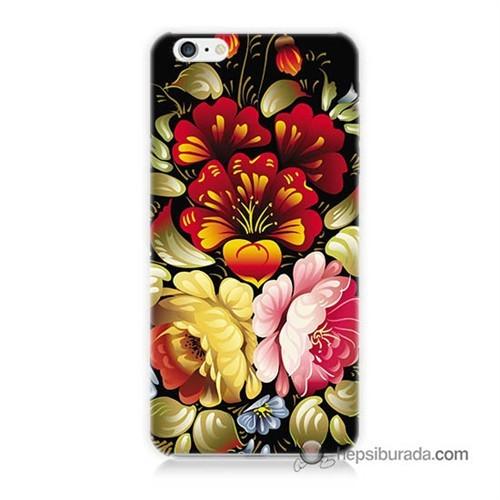 Teknomeg İphone 6S Plus Kılıf Kapak Çiçekler Baskılı Silikon