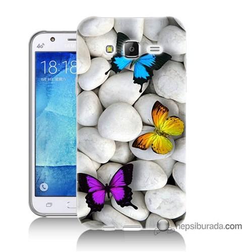 Teknomeg Samsung Galaxy J7 Kılıf Kapak Kelebekler Baskılı Silikon