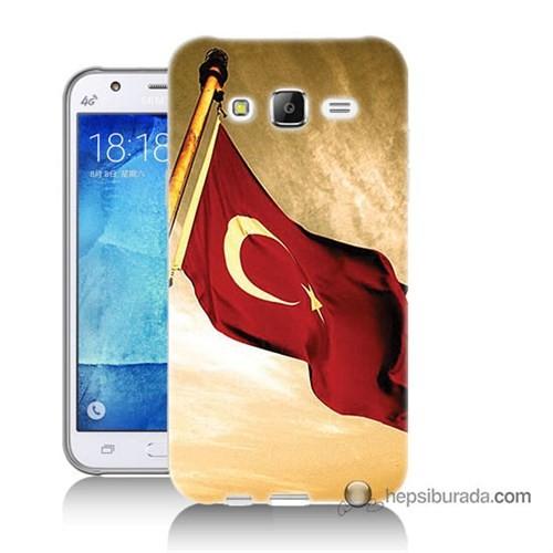 Teknomeg Samsung Galaxy J7 Kılıf Kapak Türk Bayrağı Baskılı Silikon