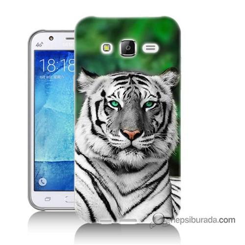 Teknomeg Samsung Galaxy J7 Kılıf Kapak Beyaz Kaplan Baskılı Silikon