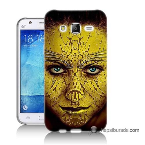 Teknomeg Samsung Galaxy J7 Kapak Kılıf Sarı Kız Baskılı Silikon