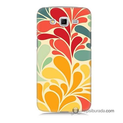 Teknomeg Samsung Galaxy Grand 2 Kapak Kılıf Çiçekler Baskılı Silikon