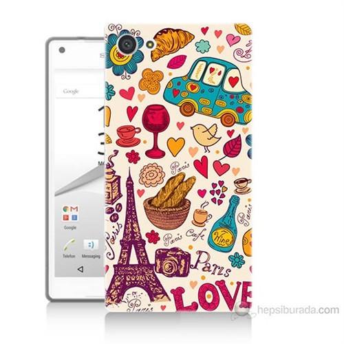 Teknomeg Sony Xperia Z5 Paris Love Baskılı Silikon Kılıf