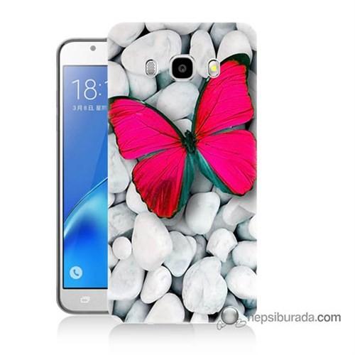 Teknomeg Samsung J7 2016 Kapak Kılıf Kelebek Baskılı Silikon
