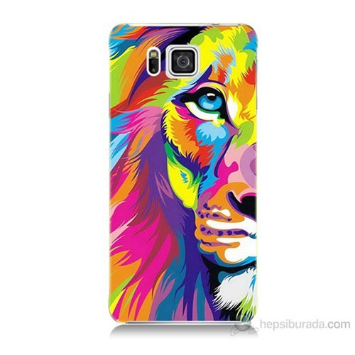 Teknomeg Samsung Galaxy Alpha G850 Renkli Aslan Baskılı Silikon Kılıf
