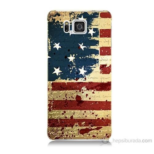 Teknomeg Samsung Galaxy Alpha G850 Amerika Bayrağı Baskılı Silikon Kılıf