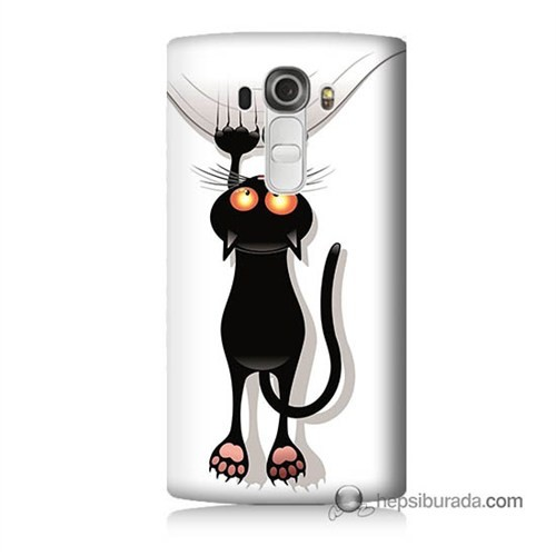 Teknomeg Lg G4 Kara Kedi Baskılı Silikon Kılıf