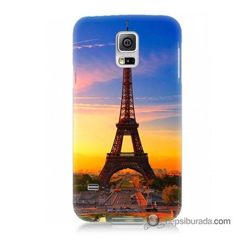 Teknomeg Samsung Galaxy S5 Mini Kapak Kılıf Eyfelde Gün Batımı Baskılı Silikon