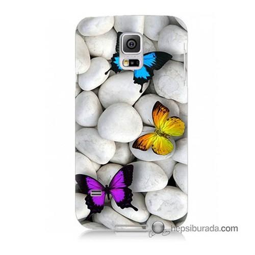 Teknomeg Samsung Galaxy S5 Mini Kılıf Kapak Kelebekler Baskılı Silikon