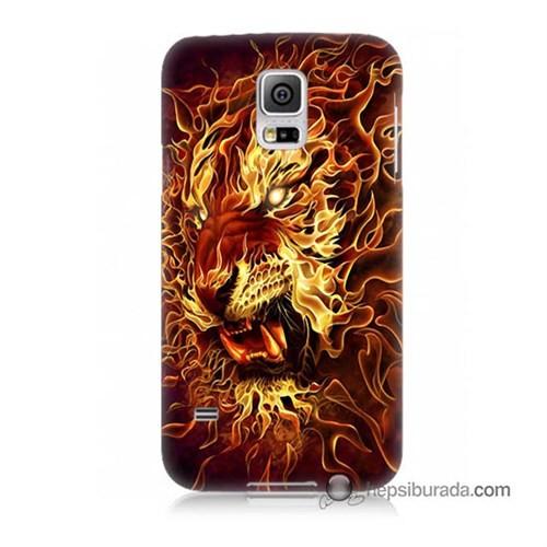 Teknomeg Samsung Galaxy S5 Mini Kılıf Kapak Ateşli Aslan Baskılı Silikon