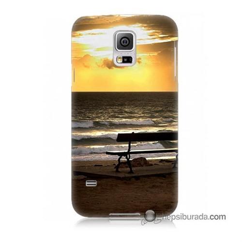 Teknomeg Samsung Galaxy S5 Mini Kılıf Kapak Gün Batımı Baskılı Silikon