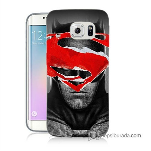 Teknomeg Samsung Galaxy S6 Edge Plus Kapak Kılıf Batman Vs Superman Baskılı Silikon
