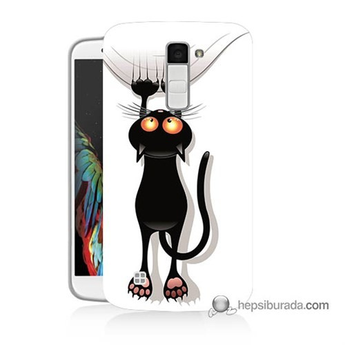 Teknomeg Lg K10 Kılıf Kapak Kara Kedi Baskılı Silikon