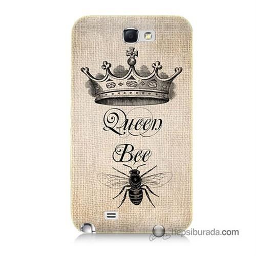 Teknomeg Samsung Galaxy Note 2 Kılıf Kapak Queen Bee Baskılı Silikon