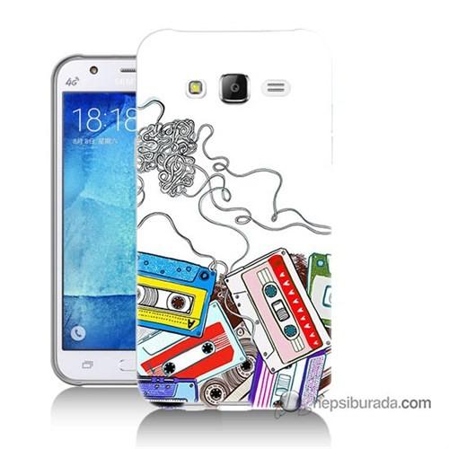 Teknomeg Samsung Galaxy J5 Kapak Kılıf Kasetler Baskılı Silikon