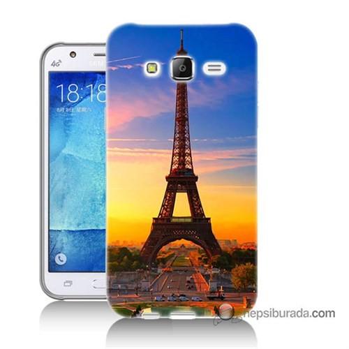 Teknomeg Samsung Galaxy J5 Kapak Kılıf Eyfelde Gün Batımı Baskılı Silikon