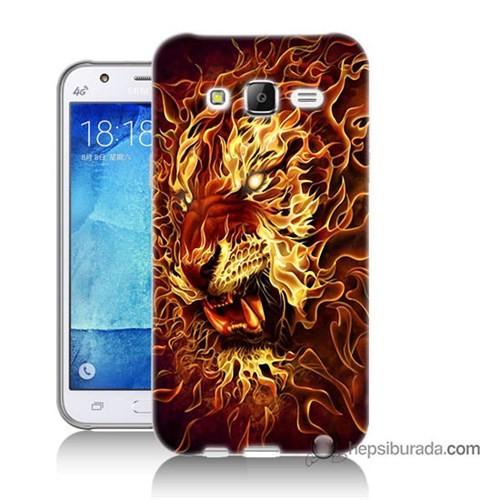Teknomeg Samsung Galaxy J5 Kılıf Kapak Ateşli Aslan Baskılı Silikon