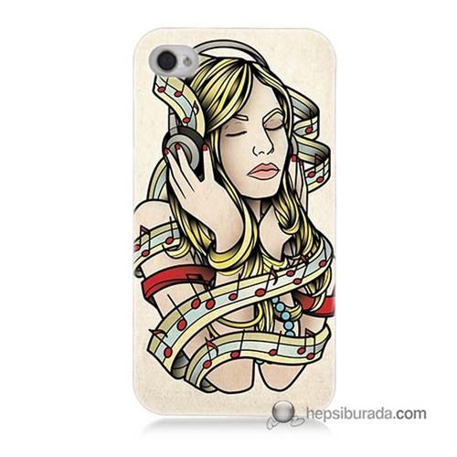 Teknomeg İphone 4 Kapak Kılıf Müzik Aşkı Baskılı Silikon