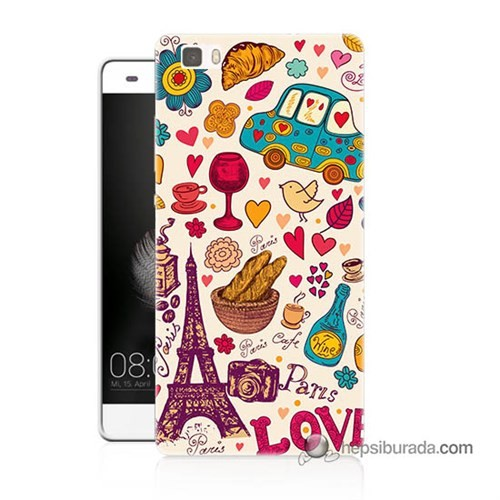 Teknomeg Huawei P8 Lite Kapak Kılıf Paris Love Baskılı Silikon