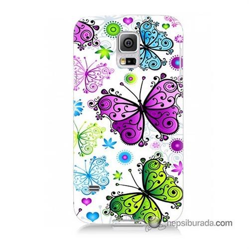 Teknomeg Samsung Galaxy S5 Kapak Kılıf Renkli Kelebekler Baskılı Silikon