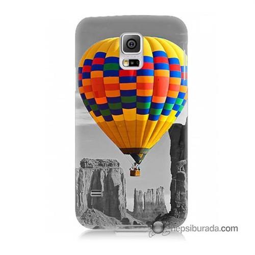 Teknomeg Samsung Galaxy S5 Kılıf Kapak Renkli Uçan Balon Baskılı Silikon