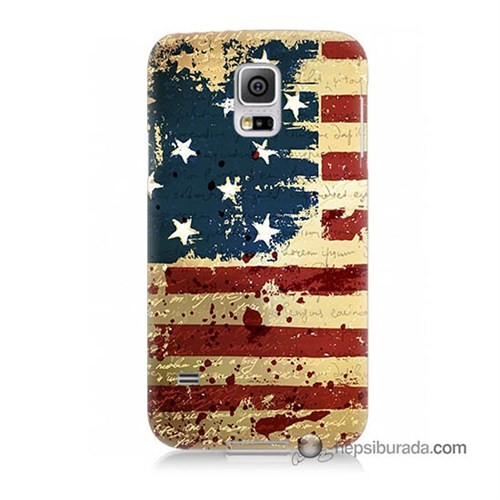 Teknomeg Samsung Galaxy S5 Kılıf Kapak Amerika Bayrağı Baskılı Silikon