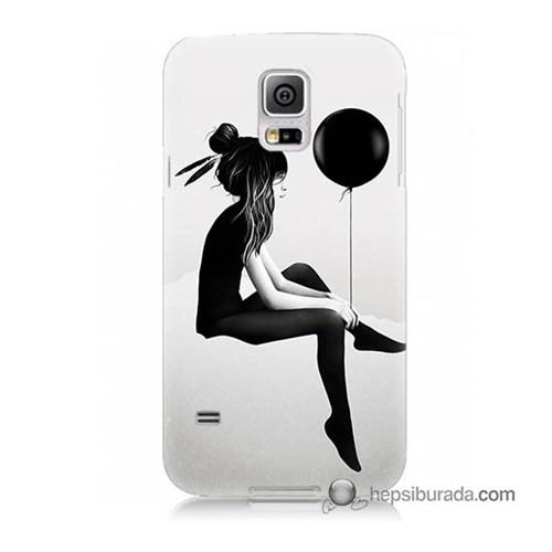 Teknomeg Samsung Galaxy S5 Kapak Kılıf Balonlu Kız Baskılı Silikon