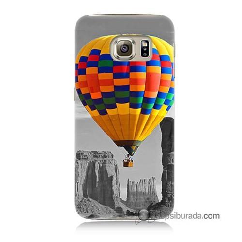 Teknomeg Samsung Galaxy S6 Kılıf Kapak Renkli Uçan Balon Baskılı Silikon