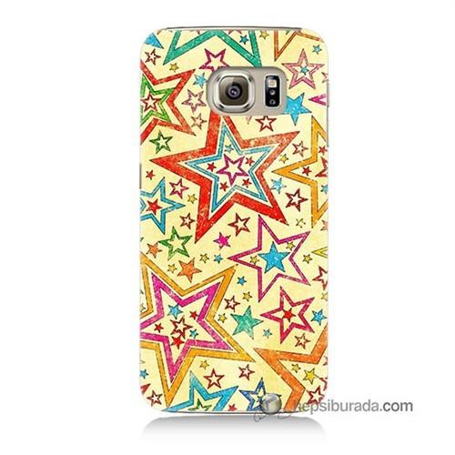 Teknomeg Samsung Galaxy S6 Kılıf Kapak Yıldızlar Baskılı Silikon