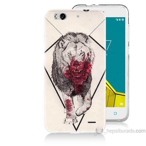 Teknomeg Vodafone Smart 6 Kanlı Aslan Baskılı Silikon Kapak Kılıf