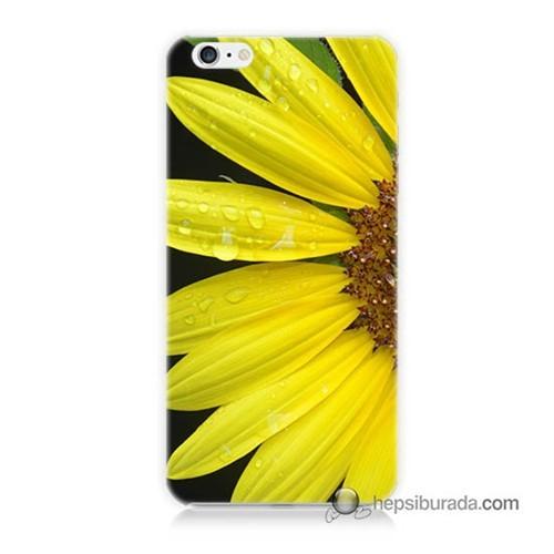 Teknomeg İphone 6 Kapak Kılıf Sarı Çiçek Baskılı Silikon