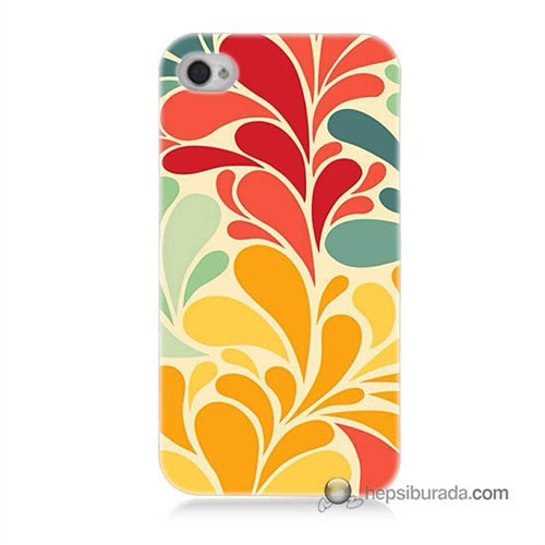 Teknomeg İphone 4 Kapak Kılıf Çiçekler Baskılı Silikon