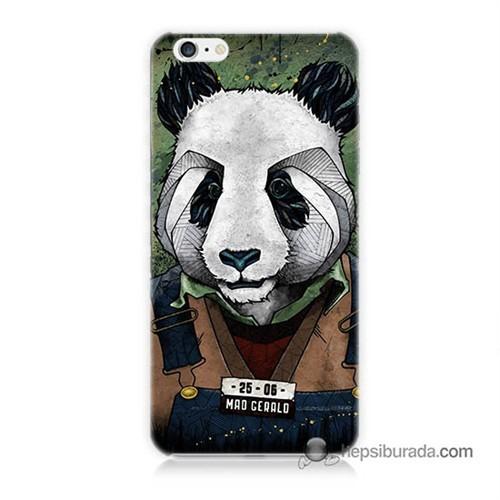 Teknomeg İphone 6 Plus Kapak Kılıf İşçi Panda Baskılı Silikon