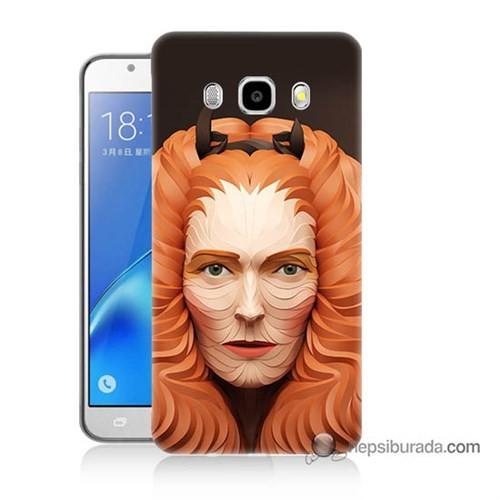 Teknomeg Samsung J7 2016 Kapak Kılıf Kabartma Kız Baskılı Silikon