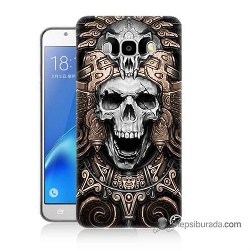 Teknomeg Samsung J7 2016 Kılıf Kapak Kafatası Krallığı Baskılı Silikon