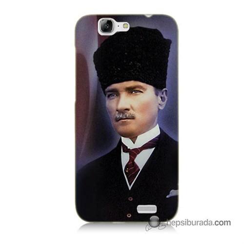 Teknomeg Huawei Ascend G7 Kılıf Kapak Mustafa Kemal Atatürk Baskılı Silikon